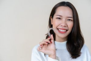 Close up of woman's smile with Six Month Smiles